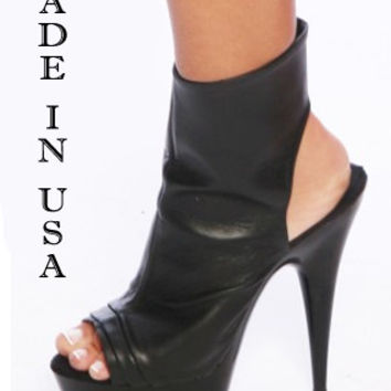 6 Inch Heel Leather Miami Stripper Ankle Boot