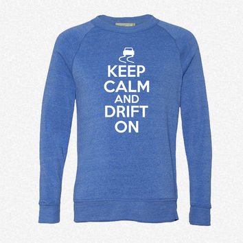 Keep calm and drift on_Rectangle fleece crewneck sweatshirt
