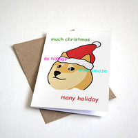 Doge Christmas Holiday Greeting Card - Humour Card Happy Holidays -  5 x 7