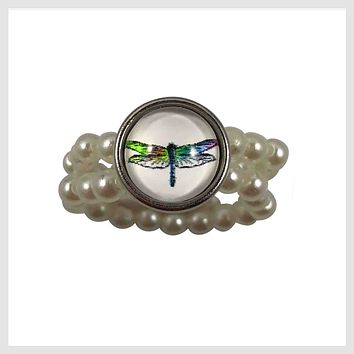 Stretch Ring Simulated Pearls Dragonfly 12mm Mini