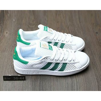 Adidas Stan Smith Popular Women Men Summer Comfortable Net Surface Breathable Flat Sport Board Shoe Sneakers White/Green Line I-A0-HXYDXPF