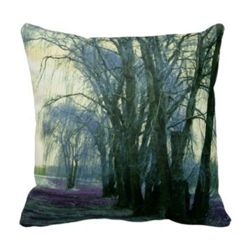 Line of Weeping Willow Trees Throw Pillow