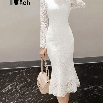 xiM&M@ch Women New Sexy Lace Dress O-neck Long-Sleeve Back Zipper Package Hip Black White Lace Mermaid Dress DR11267D
