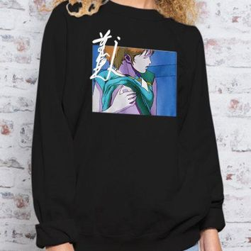 Black Printing Crew Neck Long Sleeves Pullover Sweatshirt