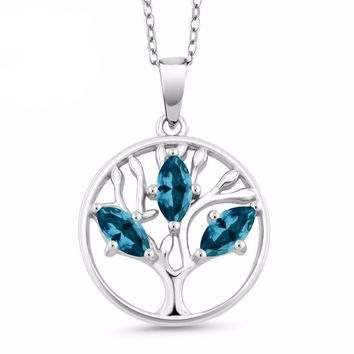 London Blue Topaz, Tree Of Life, Marquise Cut, Natural, Sterling Silver, Family Tree Pendant Necklace
