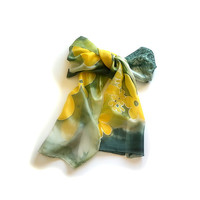 Dark Green  and Yellow Stylized Flowers Long Silk Hand Painted Scarf
