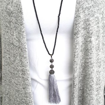 Crystal Stone Long Tassel Necklace