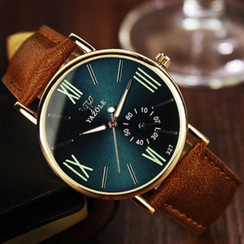 YAZOLE Famous Luminous Leather Watches Men Luxury Brand Fashion Casual Men Wristwatches Male Watch Clock Relogio Masculino 2016