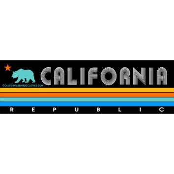 California Republic Vintage Stripe Bumper Sticker Decal