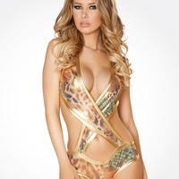 Metallic Copper Snake Criss-Cross Romper : Rompers from J. Valentine