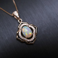 Super High Quality Genuine Flash Fire Opal Necklace Rose Gold