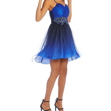 B. Darlin Spaghetti Strap Ombre Glitter Party Dress | Dillards