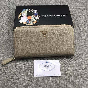 HCXX 19June 261 Prada Lichee Cowhide Card interlayer Money interlayer Zipper bag Documents bag Wallet