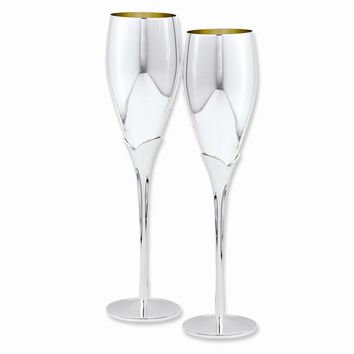 Silver-plated Pair of Champagne Flutes - Engravable Perfect Wedding Gift