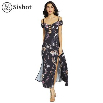 Women casual dresses summer black floral print short sleeve ankle length hollow sexy backless casual dress