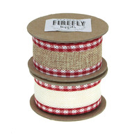 Picnic Burlap Holiday Christmas Ribbon Wired Edge, 1-1/2-Inch, 5 Yards