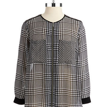 Michael Michael Kors Plus Plus Houndstooth Zipper Blouse