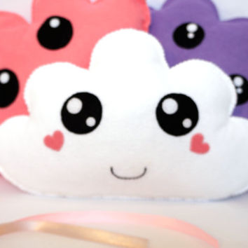 White Cloud Plushie With Heart Cheecks - Kawaii Cloud - Felt Plush Toy