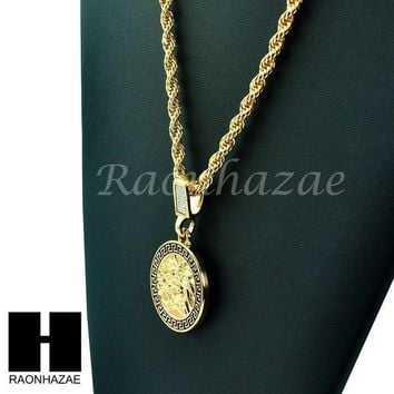 CREYA8C MENS 14K GOLD PLATED PATTERN MEDUSA ROUND PENDANT 24' ROPE NECKLACE CHAIN KN029