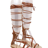 Brown Lace Up Zip Back Gladiator Sandals