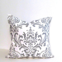 Made to Order Euro Pillow GRAY Damask Decorative Pillow Cover Throw Pillow Toss Pillow Handmade in the USA
