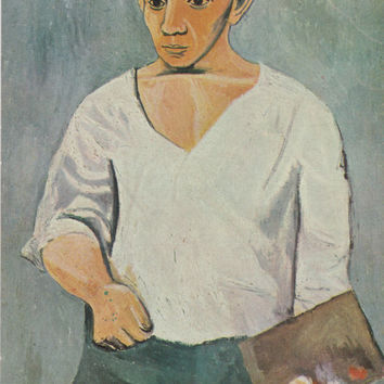 "Vintage French Postcard -- Pablo Picasso ""Self-portrait"" -- 1970s. Condition 8/10"