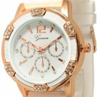 Women's White Rose Gold Chronograph Silicone with Crystal Rhinestones Bezel