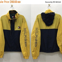ON SALE 25% OFF Vintage 90's Tommy Hilfiger Yellow Windbreaker Sweater with Zipper and Button Size L #J156