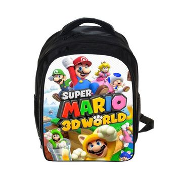 Super Mario party nes switch 13 Inch Cartoon  Bros Sonic Boom Kids Backpack Kindergarten School Bag Children Printing Backpack Girls Boys Mochila AT_80_8