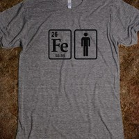 Periodic Table Iron Element and Man Icon tee t shirt
