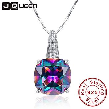 Ladies Fashion Jewelry Rainbow Necklace Topaz 925 Sterling Silver Chain with Stone Pendants Gifts for Women Packed in Gift Box