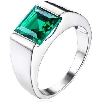 Men's Square 2.34 ct Emerald Ring