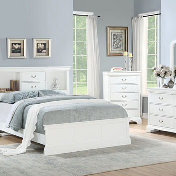 Poundex F9422Q 4 pc Bellagio white finish wood bookcase queen bed set