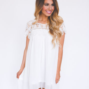 WHITE CROCHET TOP CHIFFON DRESS