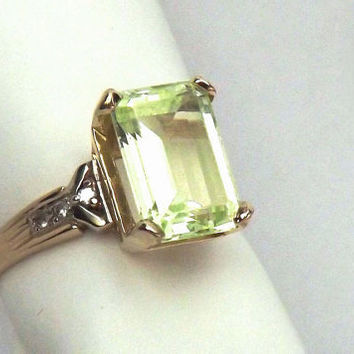 Peridot and Diamond 5 Carat Ring/ 14K Yellow Gold