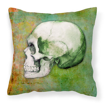 Day of the Dead Green Skull Fabric Decorative Pillow BB5122PW1818