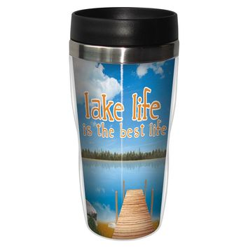 Best Life Artful Travel Mug - Premium 16 oz Stainless Lined w/ No Spill Lid