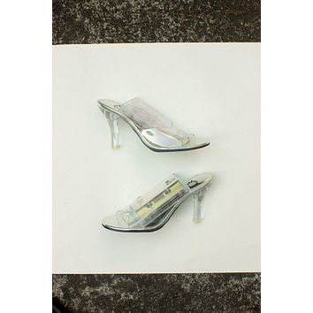 Simple Clear Slide On Heels / Size 6