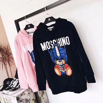 ONETOW Moschino Transformers Bear Print Pullover Hoodie