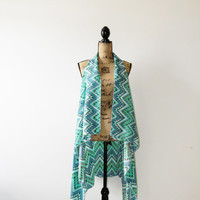 Tribal Print Boho Vest/ Oversized Chevron Hippie Vest Jacket/ Ethnic Layering Wrap/ Modern Boho Clothing/ OOAK