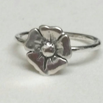 Small Poppy Flower Ring, Flower Pinky RIng,  Fine Silver Ring, Size 4, Small Flower Ring, Flower Stacking Ring by Maggie McMane Designs