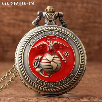 2017 New Design United States Marine Corps Theme Pocket Watch for Men Women Quartz Pocket Watches Vintage Gift With Long Chain