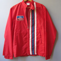 Vintage Racing Jacket Ford Patch Cafe Truck Mechanic Pit Work S Wear Small