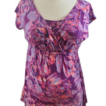 Pink & Purple Print Short Sleeve Nursing Top by Liz Lange