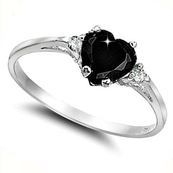 Sterling Silver Black Onyx Heart cut Kids and Ladies ring size 3-12