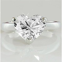 SALE A Perfect 4CT Heart Cut Solitaire Cubic Zirconia Engagement Ring