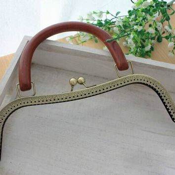 TS-02 Solid wood handle High-grade wooden handle Metal Purse frame Kiss Clasp DIY accessories Coin Purse 26CM antique brass