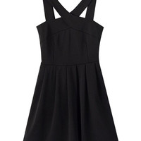 Black V-Neckline Sleeveless High Waist Skater Dress