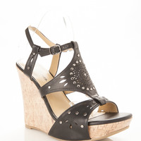 Studded Cut Out Cork Wedges
