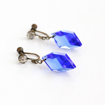 Vintage Art Deco Brass Simulated Sapphire Earrings - 1920s Antique Dangle Rhinestone & Blue Glass Crystal Screw Back Costume Jewelry